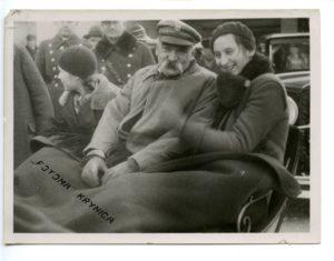 Józef Piłsudski z córką Wandą - zima w Krynicy