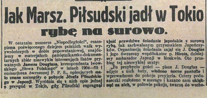 Sushi szokuje Piłsudskiego