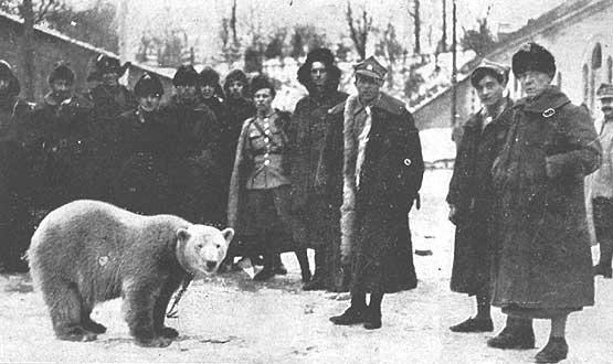 Piłsudski wita się z niedźwiedzicą Baśką