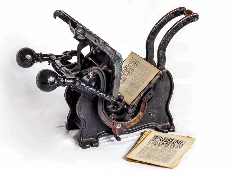 """Maszyna drukarska """"bostonka"""" ze zbiorów MJPwS"""