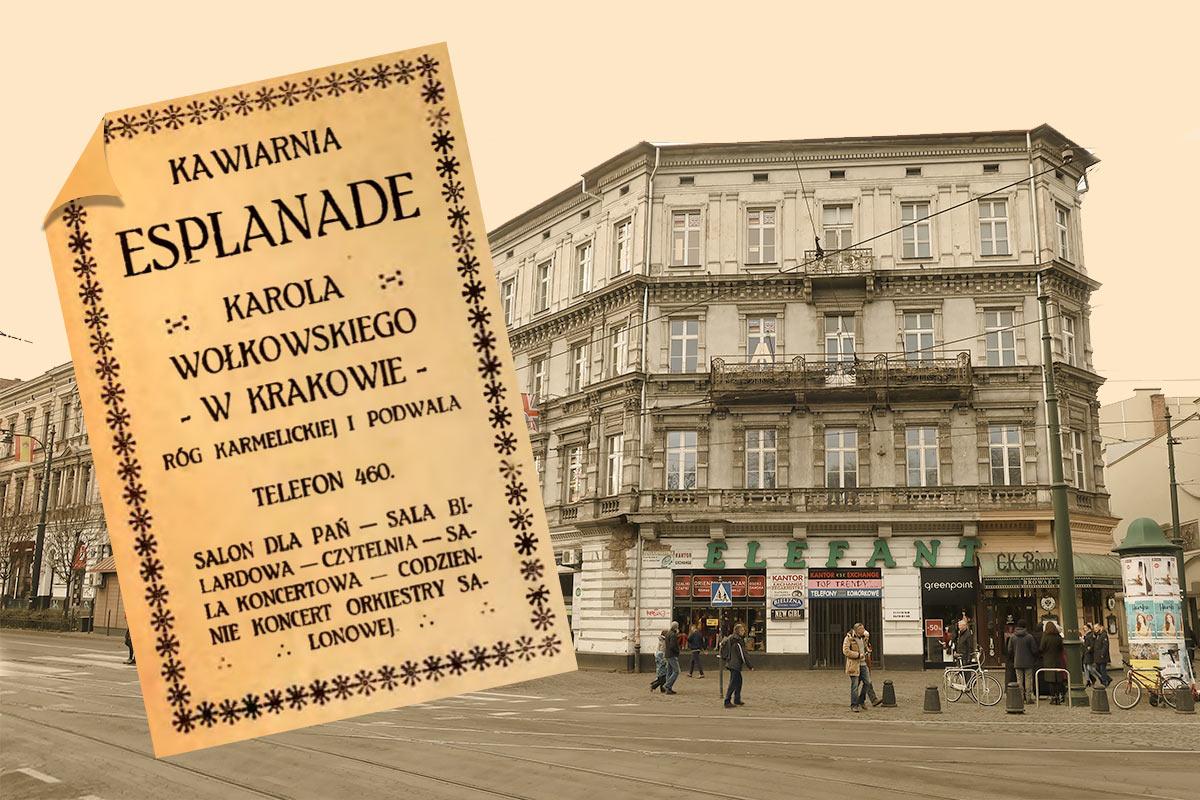 budynek Esplanade współcześnie oraz przedwojenna ulotka reklamowa