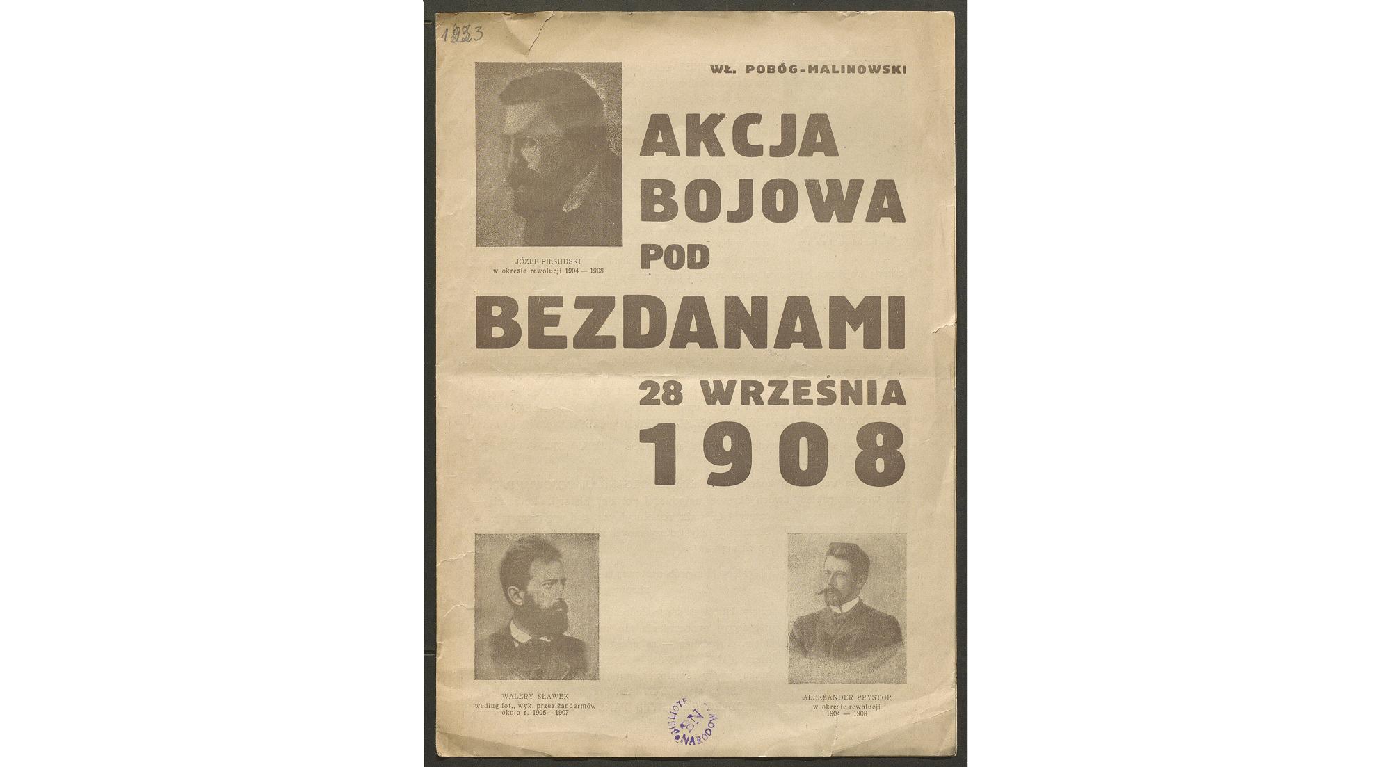 """okładka wydawnictwa """"Akcja bojowa pod Bezdanami"""" autorstwa Pobóg-Malinowskiego"""